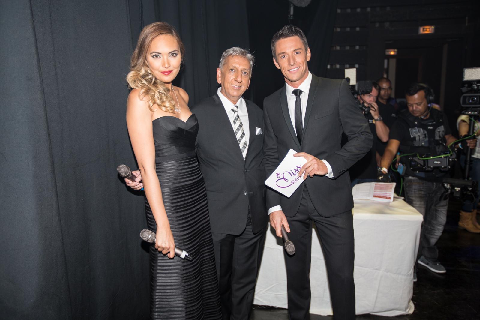 Valérie Bégue, Aziz Patel, Président du comité Miss Réunion, et Stéphane Jobert.