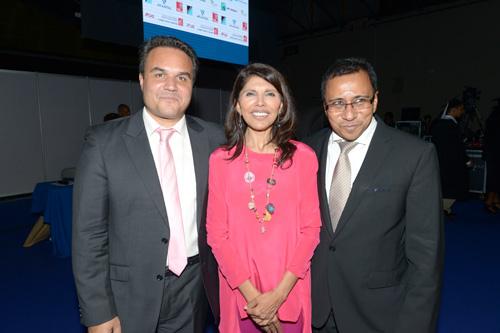Didier Robert, le président de la Région Réunion, Nassismah Dindar, la présidente du Conseil Général et Ibrahim Patel, le président de CCI Réunion