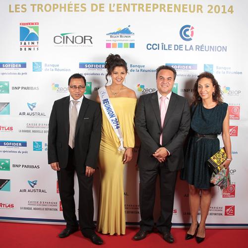 Ibrahim Patel, président de la CCI Réunion, Ingreed Mercredi, Miss Réunion 2014, Didier Robert président de la région Réunion et Corine Robert-Beaulieu