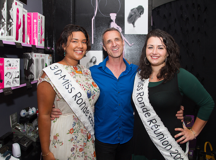 François Heurtebize, Leslie-Anne Bello et Caroline Carillo, dauphines de Miss Ronde Réunion 2014