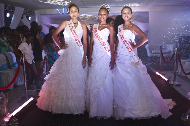 Daphnée Alberto, 2ème dauphine, Djémila Turban, Miss Saint-Leu 2014, et Séphora Deboisvilliers, 1ère dauphine