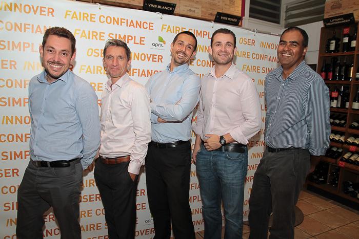 Christophe Lagarce, Michel Petiot, Arnaud Touzeau, David Barrau et Jean-Luc Galmar, d'April partenaires Réunion