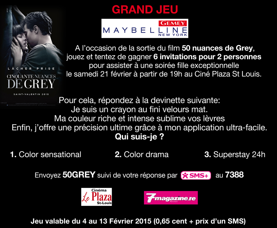 Grand Jeux Gemey Maybelline <br> 50 nuances de Grey