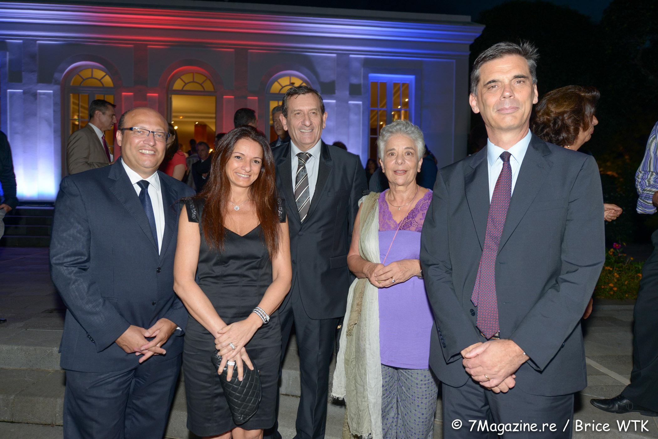 Frédéric Alory, Patricia Paoli, Marc Paoli du cabinet de Nassimah Dindar, Mirella Dayan, vice- présidente de Ciao Réunion et Dominique Sorain, préfet de La Réunion