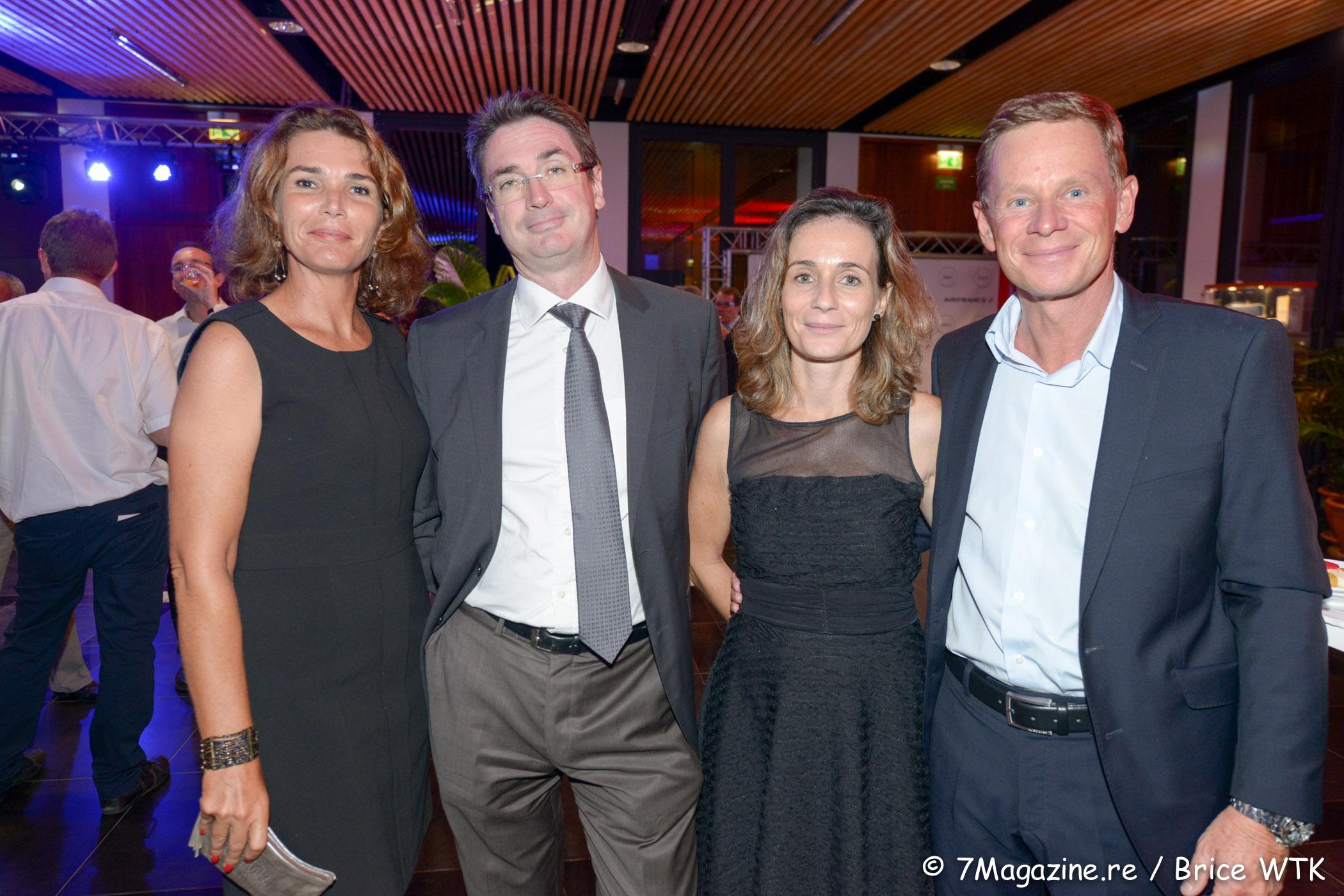 Sandra Tezenas, Bertrand Sireyjol, directeur de Cotrans Automobile, son épouse Florence et Marc tezenas, directeur général d'Automobile Réunion