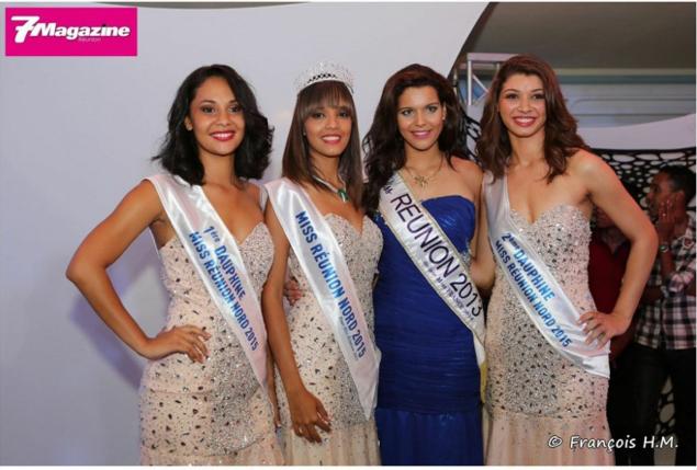 Vanessa Robert, Miss Réunion Nord, et ses dauphines avec Vanille M'Doihoma, Miss Réunion 2013
