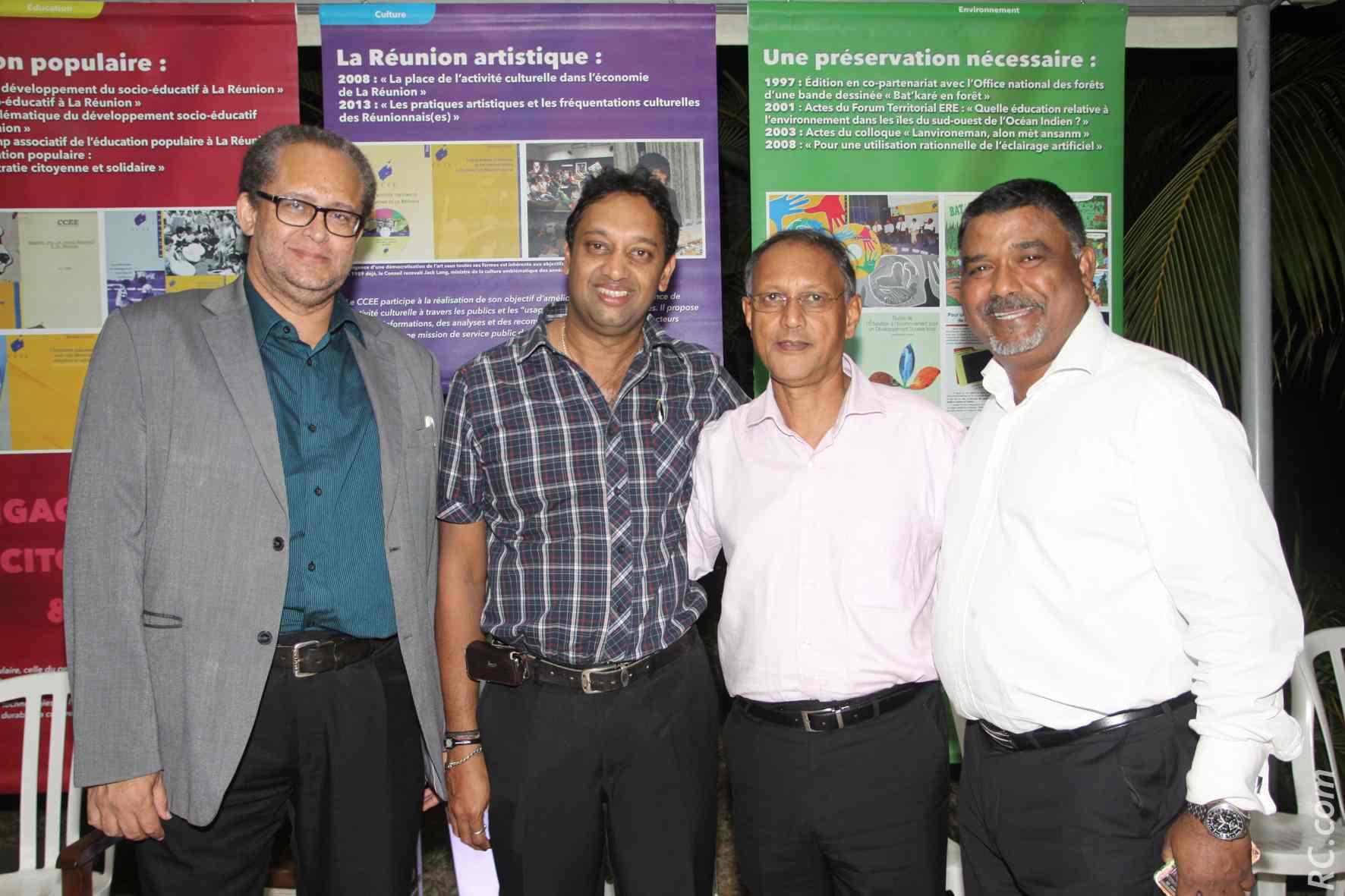Dominique Picardo, vice-président du CCEE Réunion, Saravanan Rangaradjou, Roger Ramchetty, et Moïse Nice, gérant de l'AREFIP
