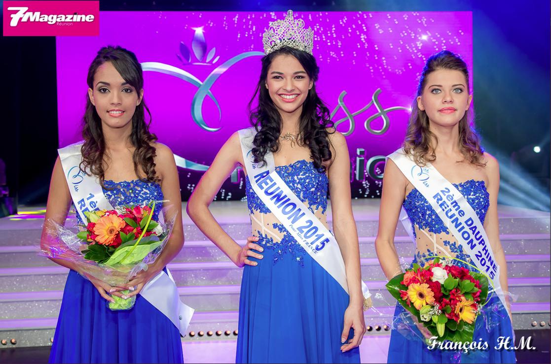 Azuima Issa, Miss Réunion 2015 avec ses deux magnifiques dauphines: Vanessa Robert, 20 ans 1ère dauphine et Floriane Gonthier, 21 ans 2ème dauphine.