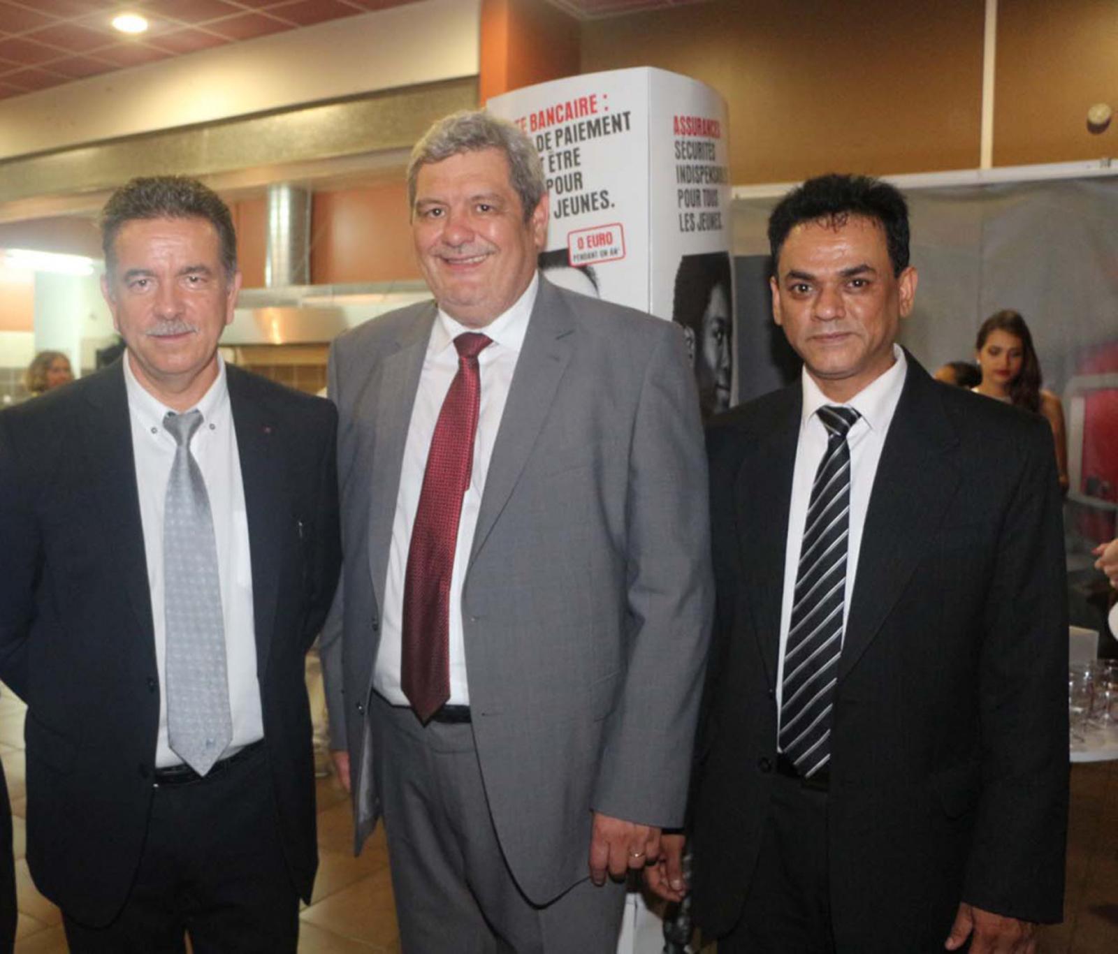 Patrick Geiglé, le directeur régional Caisse d'Epargne, Alain Fabre, membre du directoire en charge de la banque de détail, et Yacine Gooljanee, responsable et événementiels