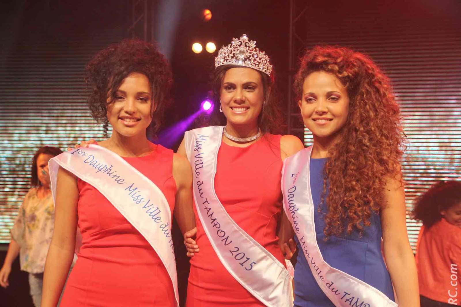 Marine Fontaine, 1ère dauphine, Anaïs Picard, Miss Ville du Tampon, et Kimberley Gigan, 2ème dauphine