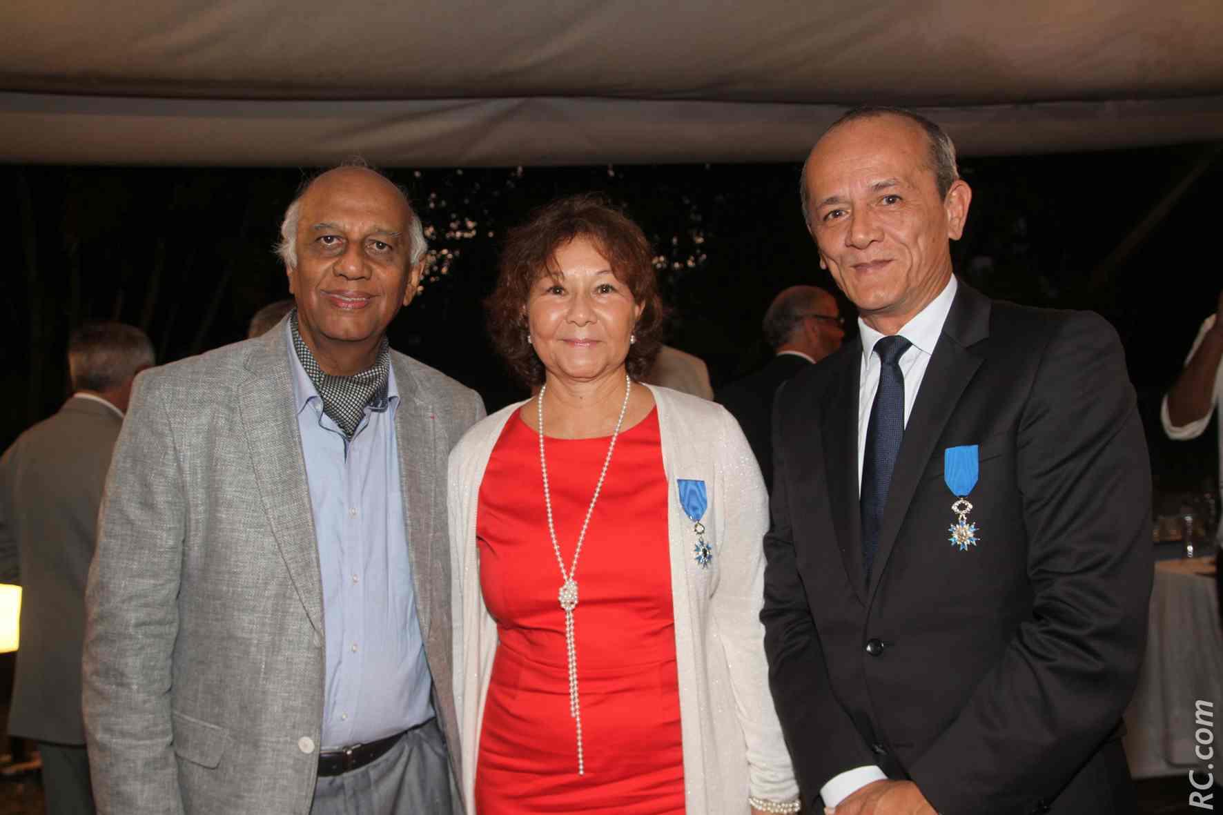 Noor Locate, chef d'entreprise, Ginette Azélie et Loïc Armand, sous-préfet de Saint-Pierre.