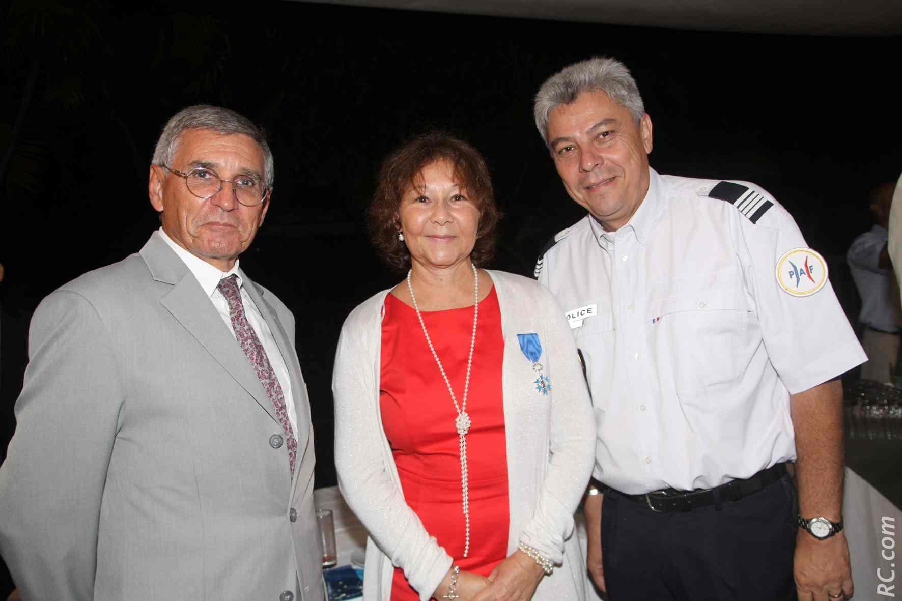 Pierre Maurel, président du TGI de Saint-Pierre, Ginette Azélie, et Eric Hoarau, chef de la PAF Aéroport de Pierrefonds