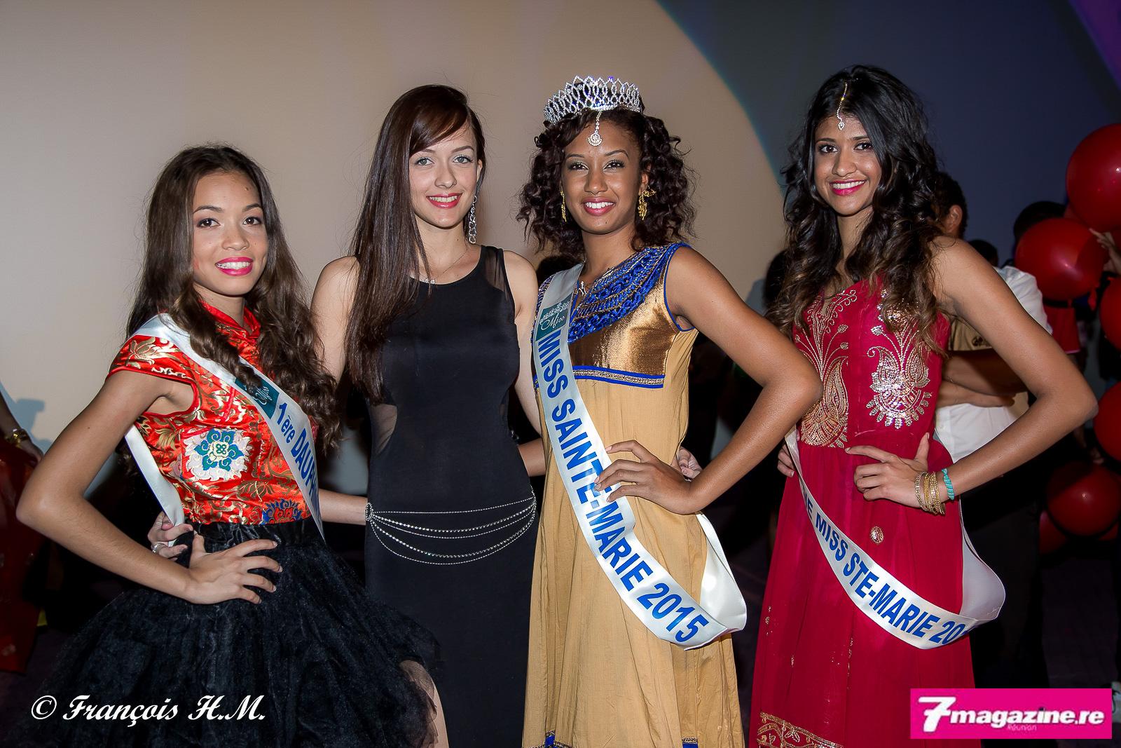 Manon Lio Soon Shun, Miss Azian, Morgane Lebon, Audrey Lebon, Miss Saine-Marie, et Mélanie Insulaire, sa 2ème dauphine
