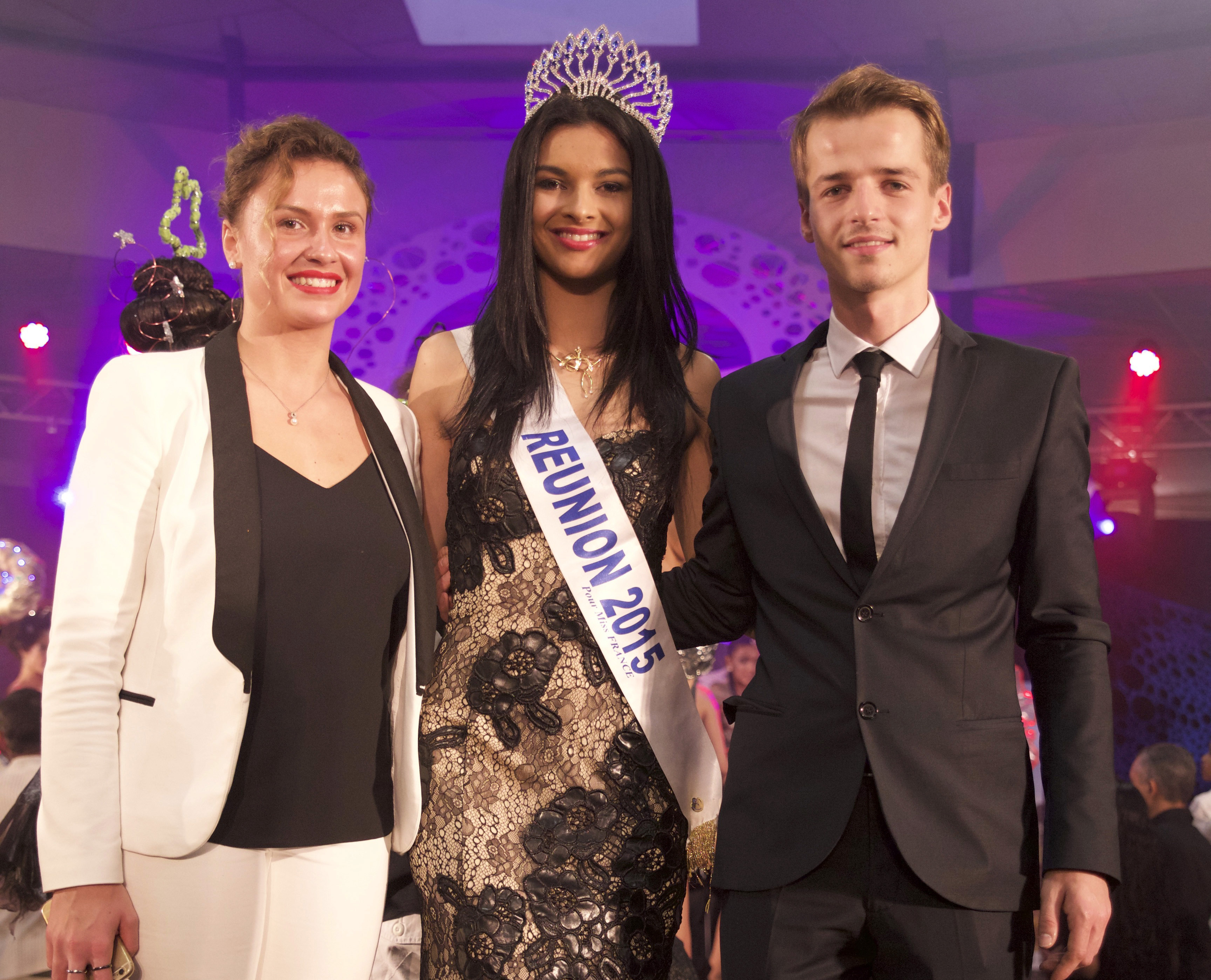 Azuima Issa avec Antoine Koehler, champion du monde de coiffure, et sa collaboratrice
