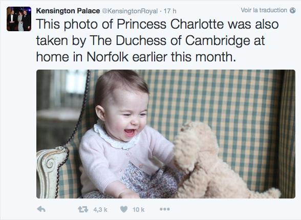 Kate Middleton publie des photos de Charlotte sur Twitter