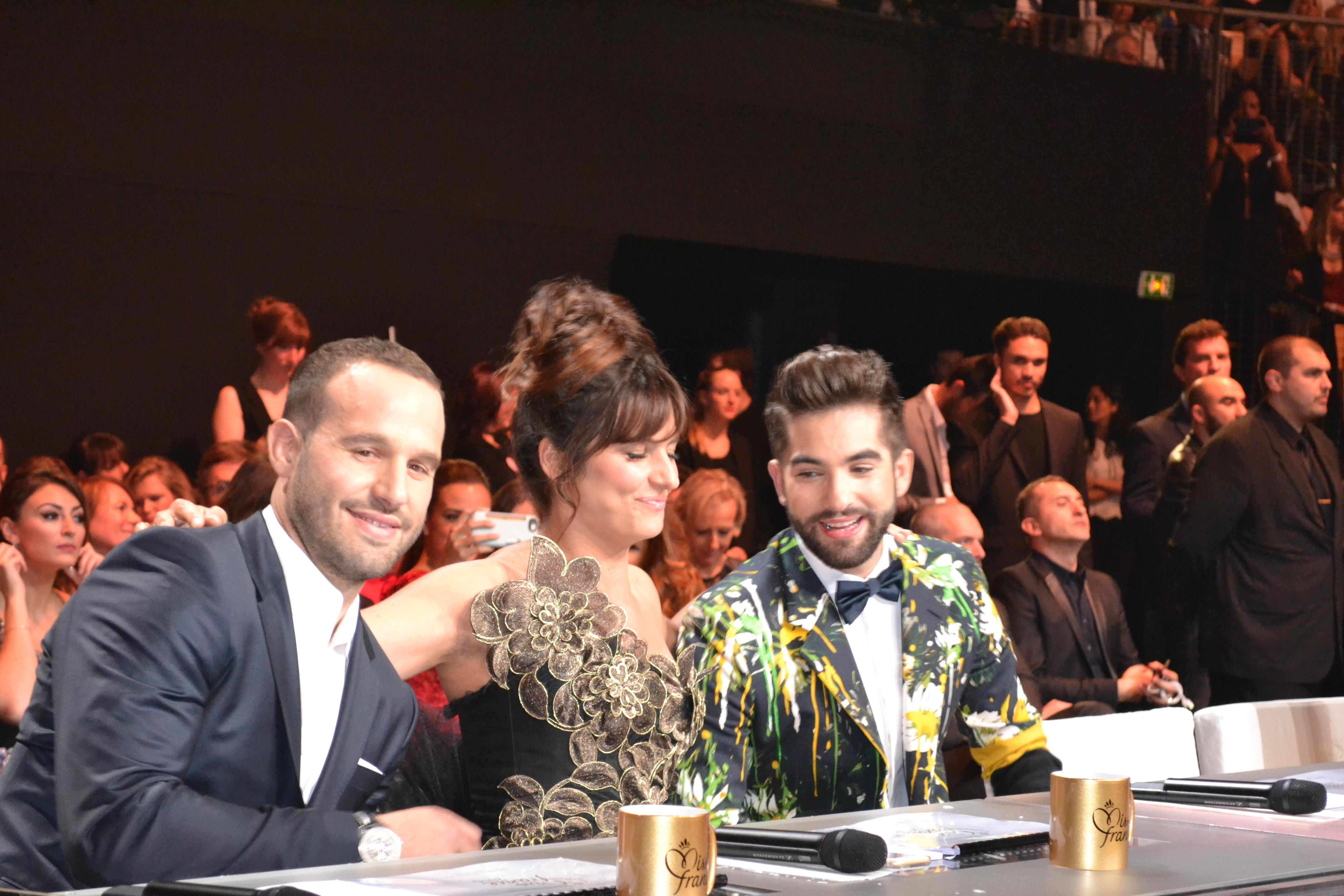 Frédéric Michalak, Laetitia Milot et Kendji Girac, trois des membres du jury Miss France 2016