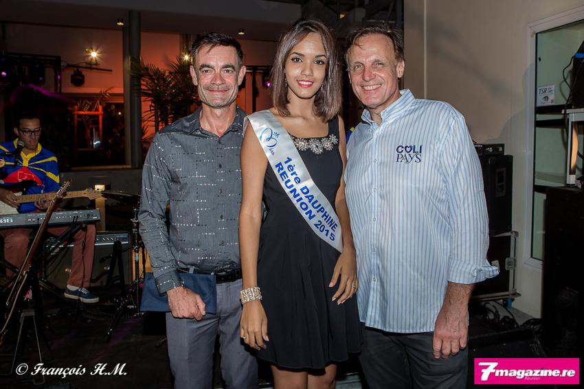 Fabrice Adam d'Air Austral, Vanessa Robert, 1ère dauphine Miss Réunion, et Frédéric Faby de Colipays