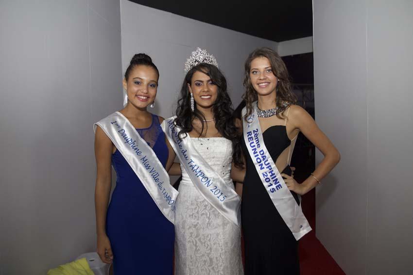 Floriane Gonthier avec Miss Ville du Tampon 2015 et sa 1ère dauphine