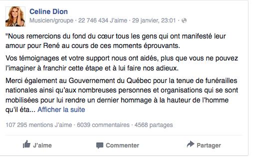 Le message de remerciements de Céline Dion