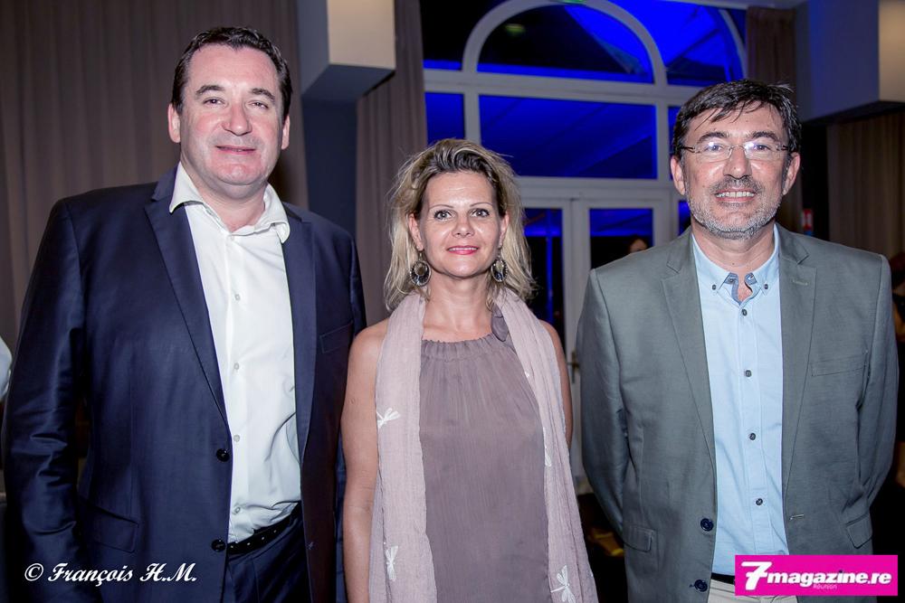 Pascal Turonnet, directeur du Mercure Créolia, Ingrid Averianoff, directrice de l'Alamanda, et Fabrice Manson