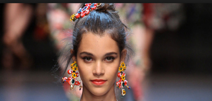 Pauline sur le défilé printemps-été 2016 Dolce & Gabbana