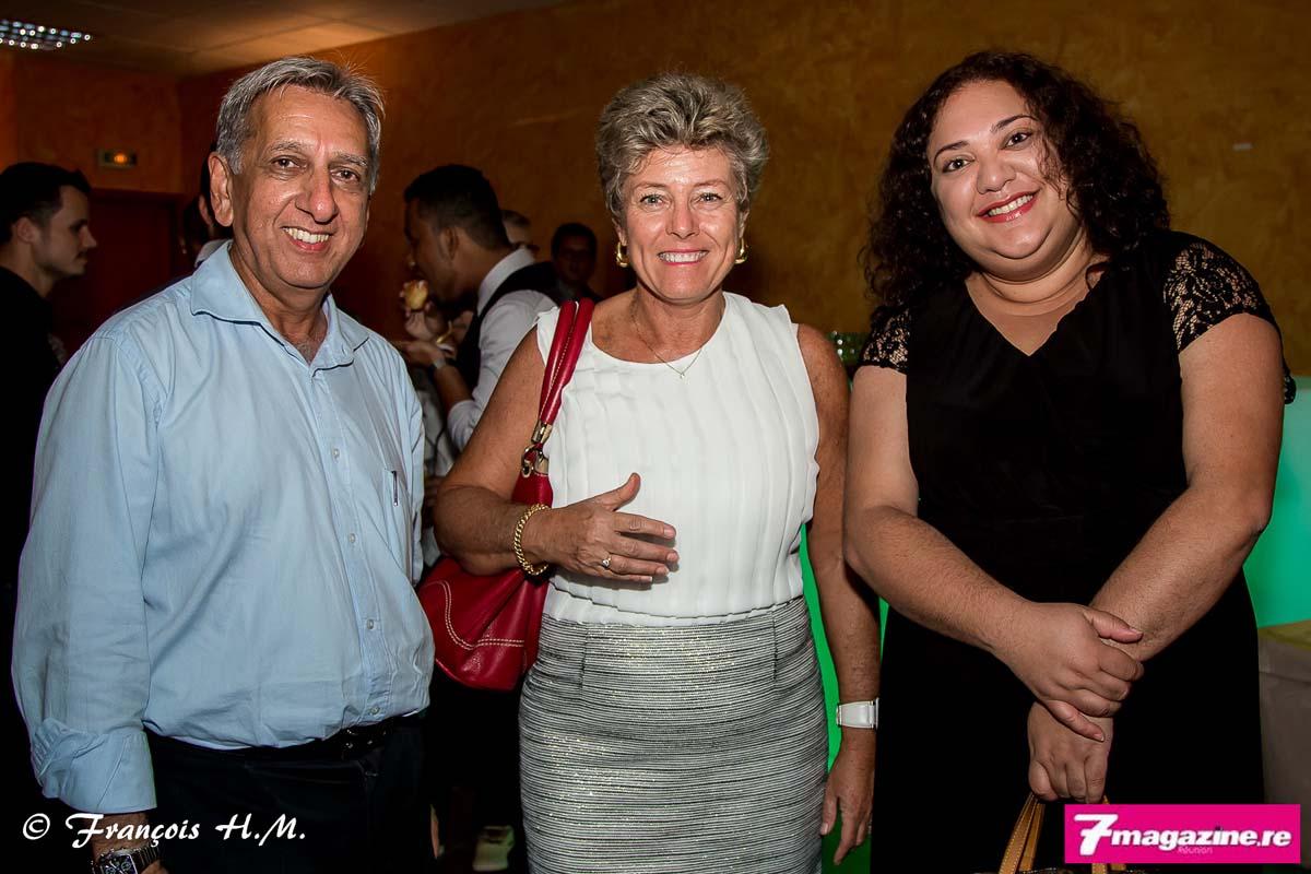 Aziz Patel, Marie-Claude De Munari, directrice de l'EGC, et Sarah Patel, journaliste Radio Freedom et membre des Disciples D'Escoffier