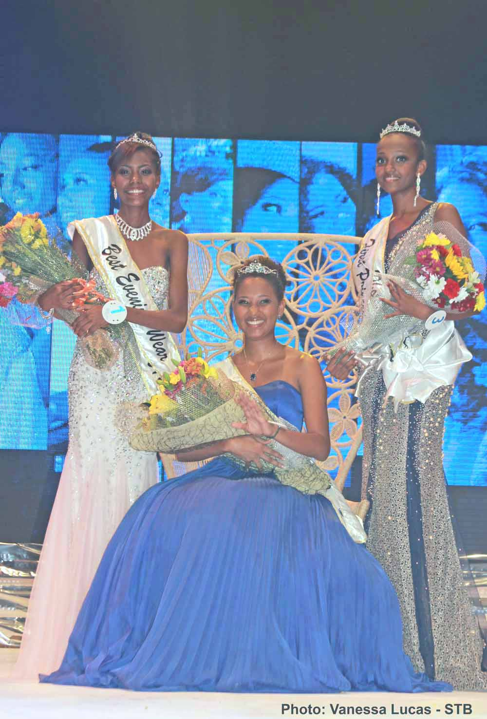 Christine Barbier, Miss Seychelles Another World 2016, et ses dauphines Liliane Barbé et Samiya Albert