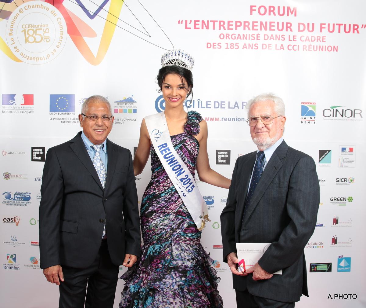 Younous Vally, élu de la CCIR, Azuima Issa, et Roger Roland, ancien président de la CCIR