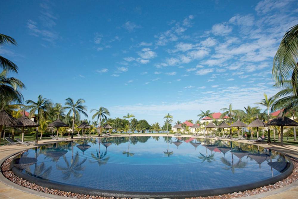 Une grande piscine circulaire où se reflètent les cocotiers et le bleu du ciel