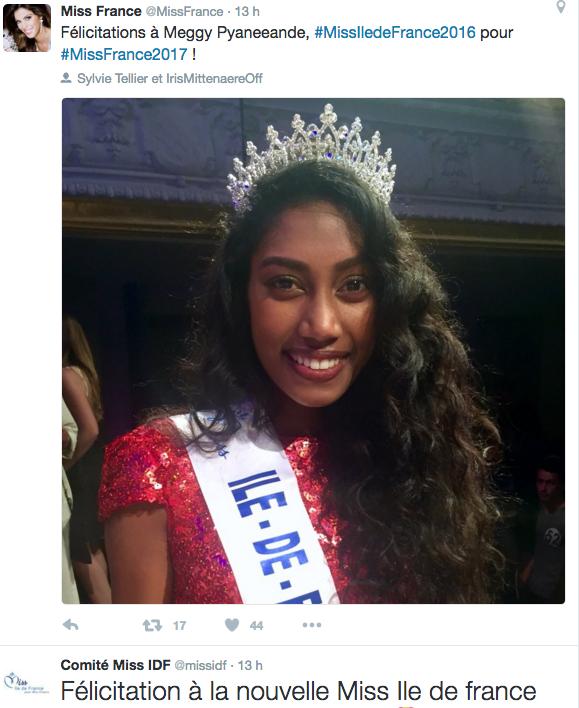 Le Comité Miss France l'a félicitée