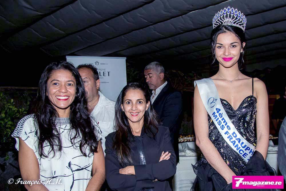 Ingrid Law-Ki,, Amida Hussein, directrice de la Société Miss Réunion, et Azuima Issa