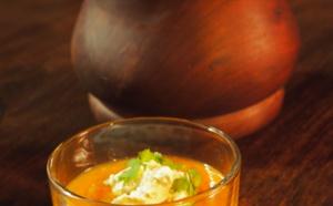 Verrines velouté frais de carottes et courge aux épices