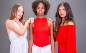 Maëlle, Camille et Swann, finalistes Elite Model Look Reunion Island en rouge et blanc