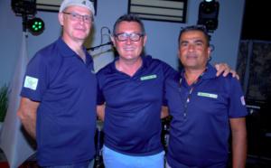 L'équipe de Précision Topo avec Xavier Robert Ingénieur Support et Formation, Fabien Lamagat Directeur et Pascal Mazaka Technicien SAV