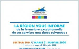 Fermeture exceptionnelle des services de la Région aux dates suivantes